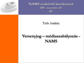 NAMS szakértői kerekasztal 2007. november 28. IJC