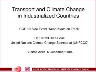 Transport and Climate Change  in Industrialized Countries