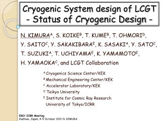 Cryogenic System design of LCGT - Status of Cryogenic Design -