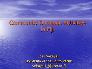 Community Outreach Activities in Fiji