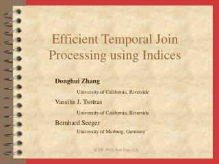 Efficient Temporal Join Processing using Indices