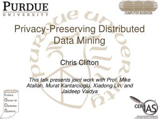Privacy-Preserving Distributed Data Mining