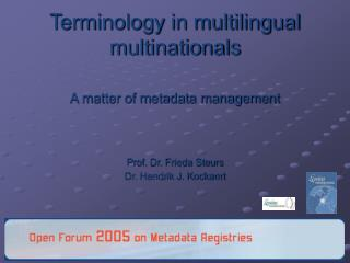 Terminology in multilingual multinationals