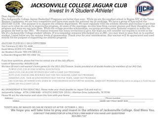 JACKSONVILLE COLLEGE JAGUAR CLUB