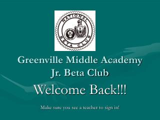 Greenville Middle Academy Jr. Beta Club
