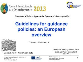 Guidelines for guidance policies: a n  European overview