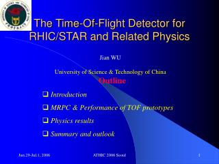 The Time-Of-Flight Detector for RHIC/STAR and Related Physics
