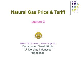 Widodo W. Purwanto , *Hanan Nugroho Departemen Teknik Kimia Universitas Indonesia *Bappenas