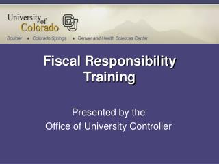 Fiscal Responsibility Training