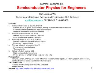 Prof. Junqiao Wu Department of Materials Science and Engineering, U.C. Berkeley