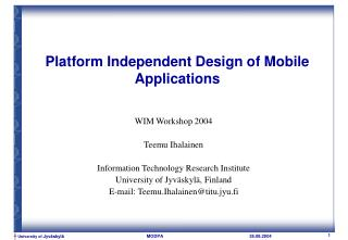 Platform Independent Design of Mobile Applications