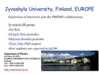 Jyvaskyla University, Finland, EUROPE