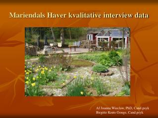 Mariendals Haver kvalitative interview data