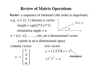 Review of Matrix Operations
