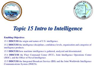 Topic 15 Intro to Intelligence Enabling Objectives