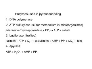Enzymes used in pyrosequencing 1 DNA polymerase 2 ATP sulfurylase sulfur metabolism in microorganisms adenosine-5 -phosp