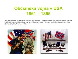 Občianska vojna v USA 1861 – 1865