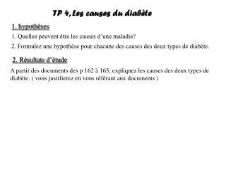 TP 4, Les causes du diabète