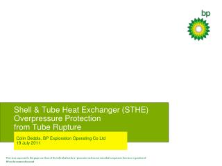 Shell & Tube Heat Exchanger (STHE) Overpressure Protection from Tube Rupture
