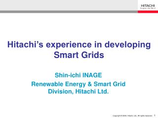 Hitachi's experience in developing Smart Grids