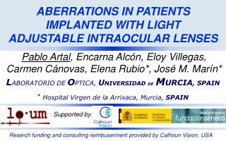 ABERRATIONS IN PATIENTS IMPLANTED WITH LIGHT    ADJUSTABLE INTRAOCULAR LENSES