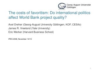 The costs of favoritism: Do international politics affect World Bank project quality?