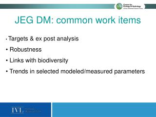 JEG DM:  common work items