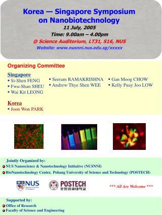 Jointly Organized by:  NUS Nanoscience & Nanotechnology Initiative (NUSNNI)