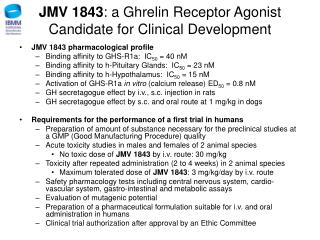 JMV 1843 : a Ghrelin Receptor Agonist  Candidate for Clinical Development