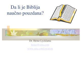Da li je Biblija nau č no pouzdana?