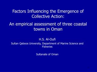 Factors Influencing the Emergence of Collective Action: An empirical assessment of three coastal towns in Oman