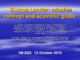 Europa Lander: mission concept and scientific goals