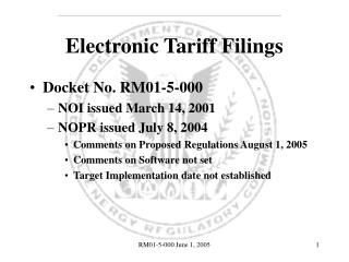 Electronic Tariff Filings