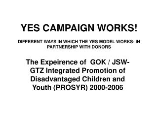 YES CAMPAIGN WORKS! DIFFERENT WAYS IN WHICH THE YES MODEL WORKS- IN PARTNERSHIP WITH DONORS