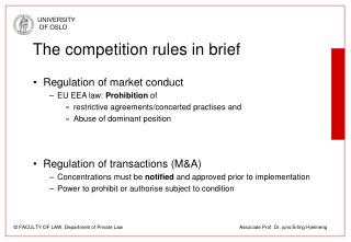 The competition rules in brief