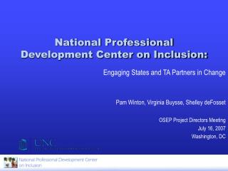 National Professional Development Center on Inclusion: