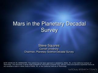 Mars in the Planetary Decadal Survey