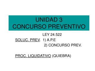 UNIDAD 3  CONCURSO PREVENTIVO