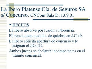La Ibero Platense Cía. de Seguros SA s/ Concurso.  CNCom Sala D, 13.9.01