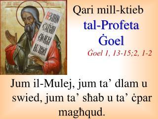 Qari mill-ktieb tal-Profeta Ġoel Ġoel  1, 13-15;2, 1-2