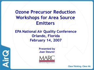 Ozone Precursor Reduction Workshops for Area Source Emitters