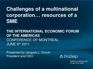 Challenges of a multinational corporation… resources of a SME THE INTERNATIONAL ECONOMIC FORUM