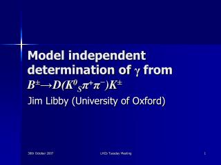Model independent determination of  γ from  B ± →D(K 0 S π + π − )K ±