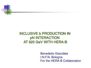 Benedetto Giacobbe I.N.F.N. Bologna For the HERA-B Collaboration
