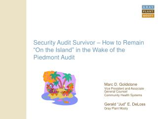 "Security Audit Survivor – How to Remain ""On the Island"" in the Wake of the Piedmont Audit"