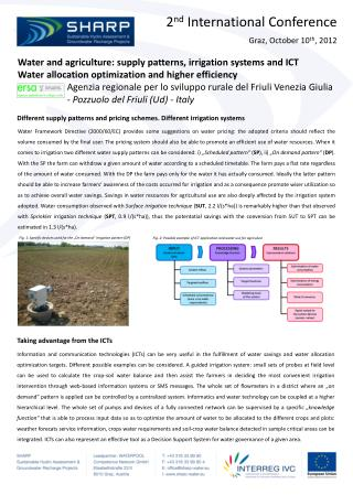 Water and agriculture: supply patterns, irrigation systems and ICT