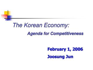 The Korean Economy: Agenda for Competitiveness
