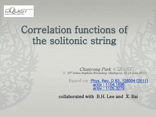 Correlation functions of the  solitonic  string