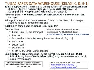 TUGAS PAPER DATA WAREHOUSE (KELAS I-1 & H-1)