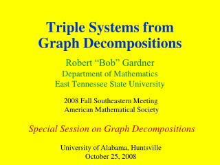 Triple Systems from Graph Decompositions